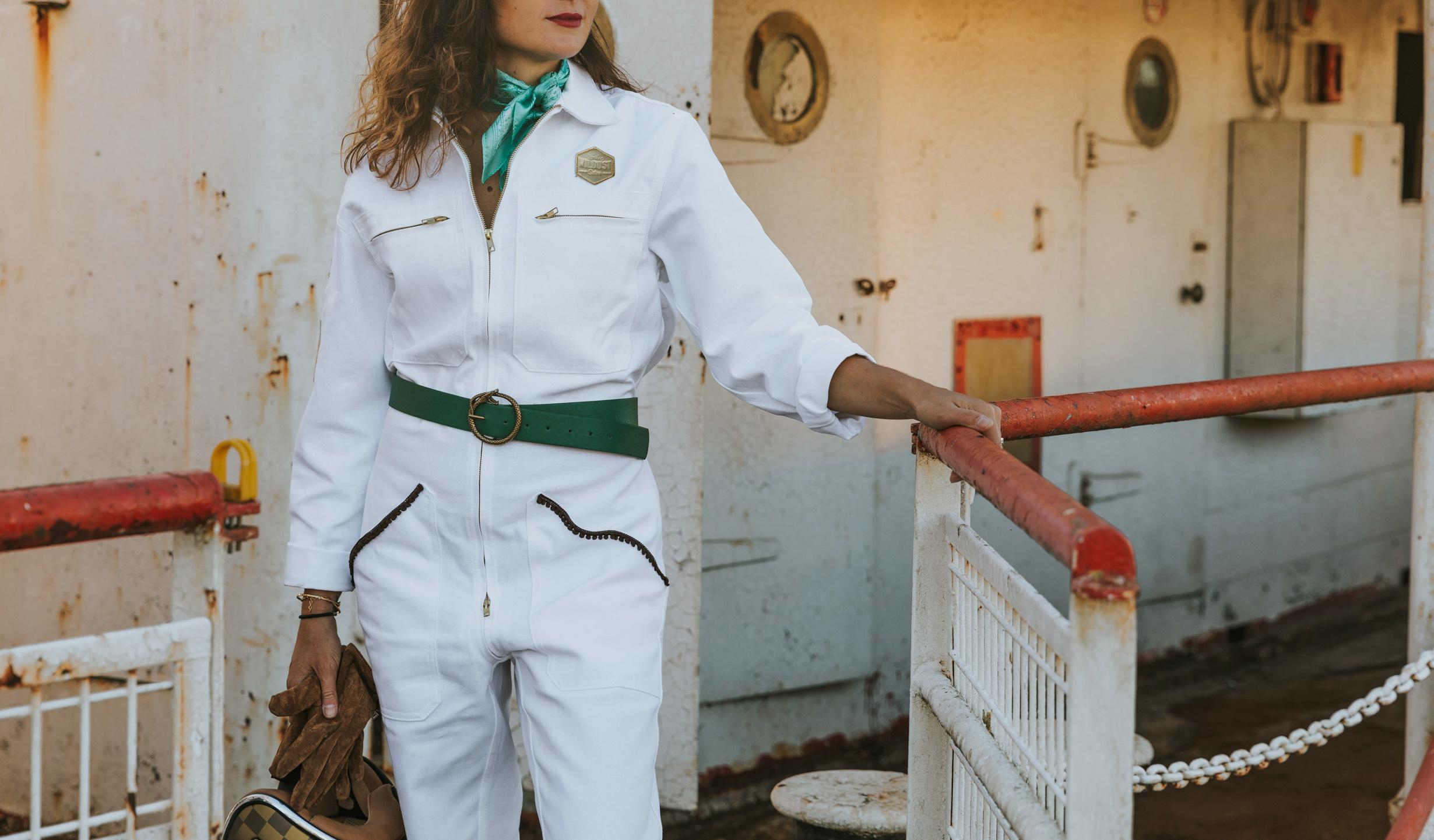 Combinaison White Mecano Moto Femme