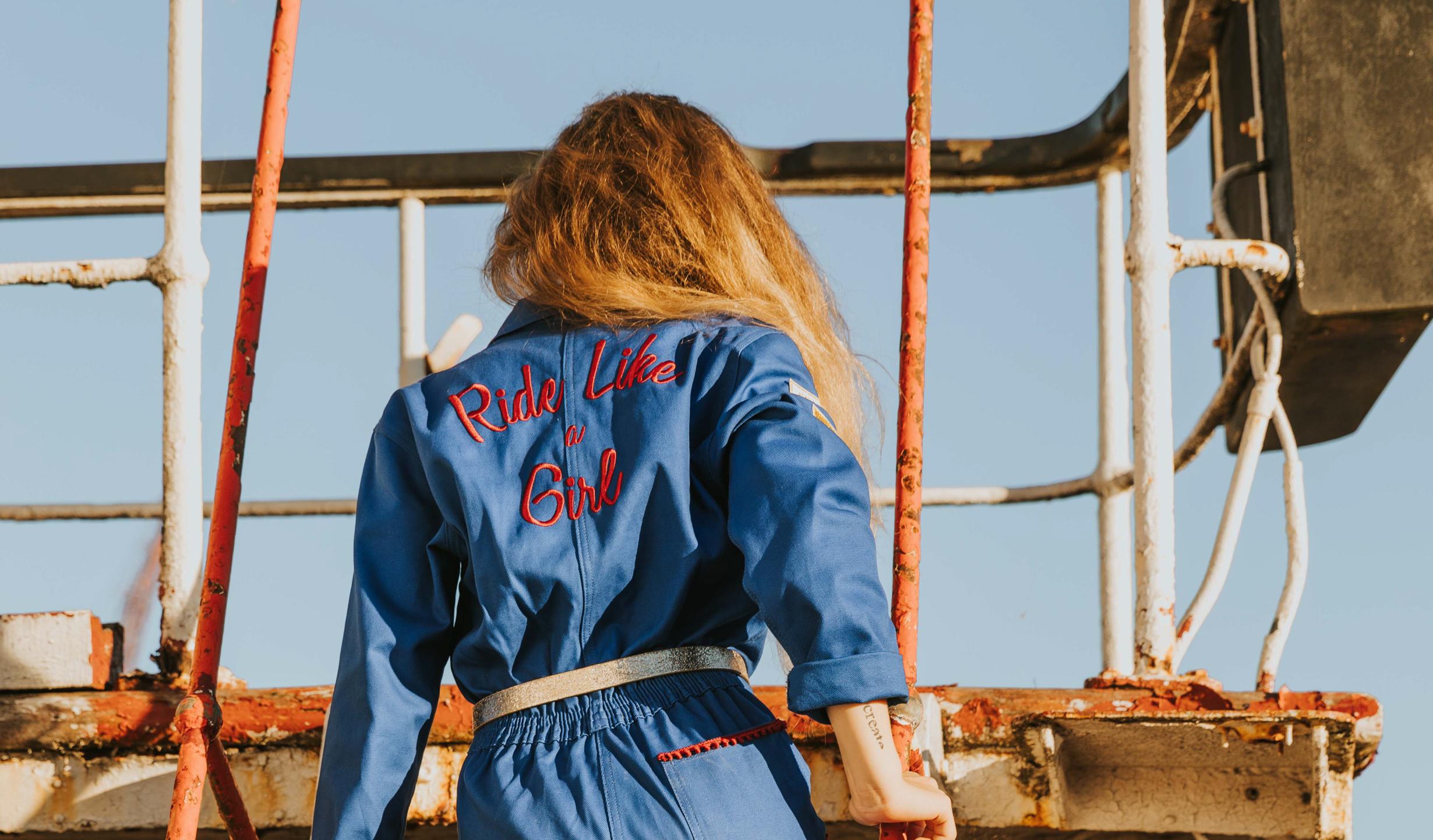 combinaison mecano pour femme moto bleue