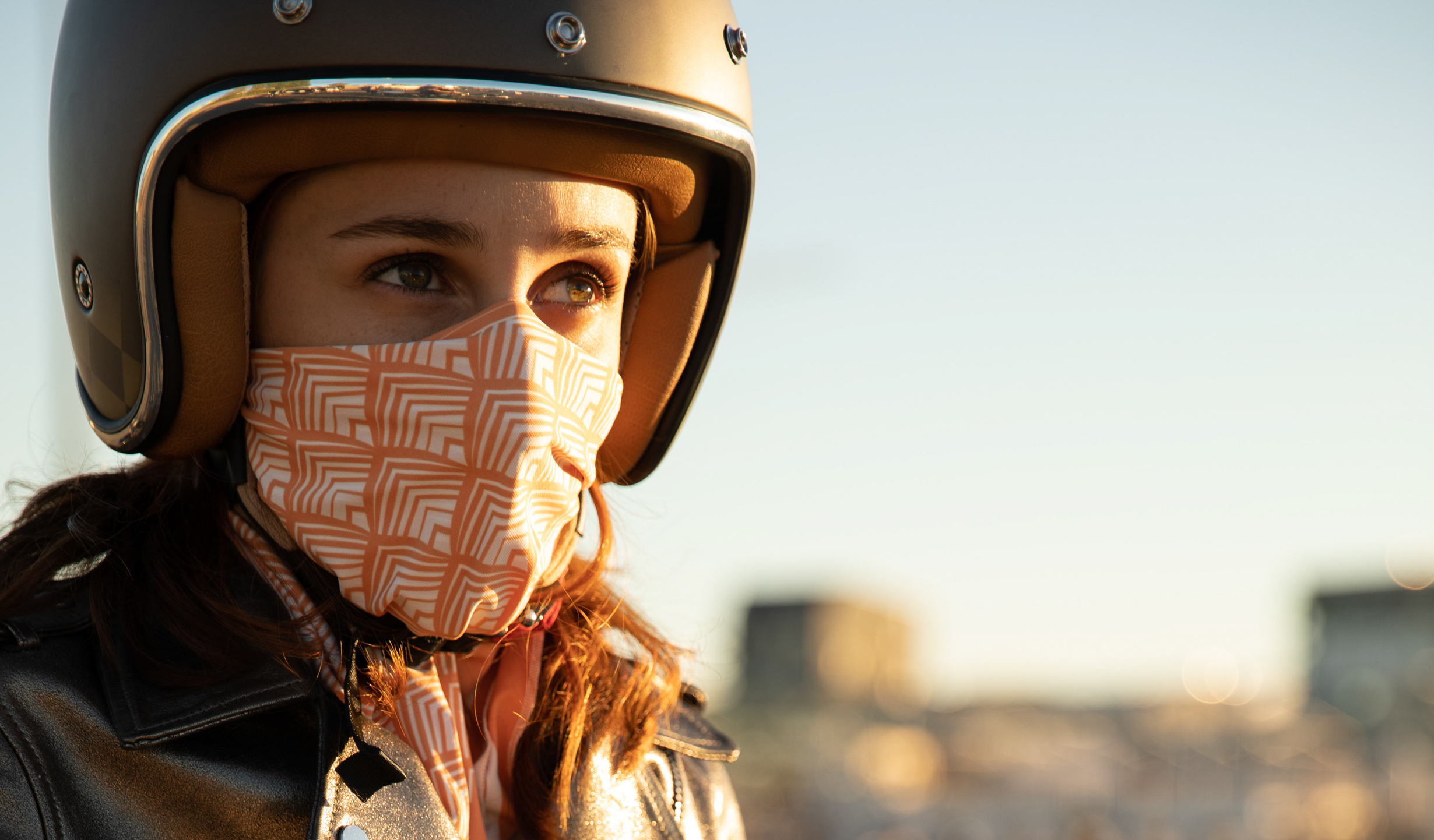 foulard moto femme orange redwood