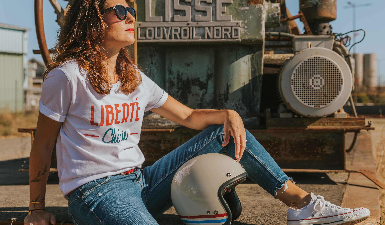 t shirt femme moto liberté chérie