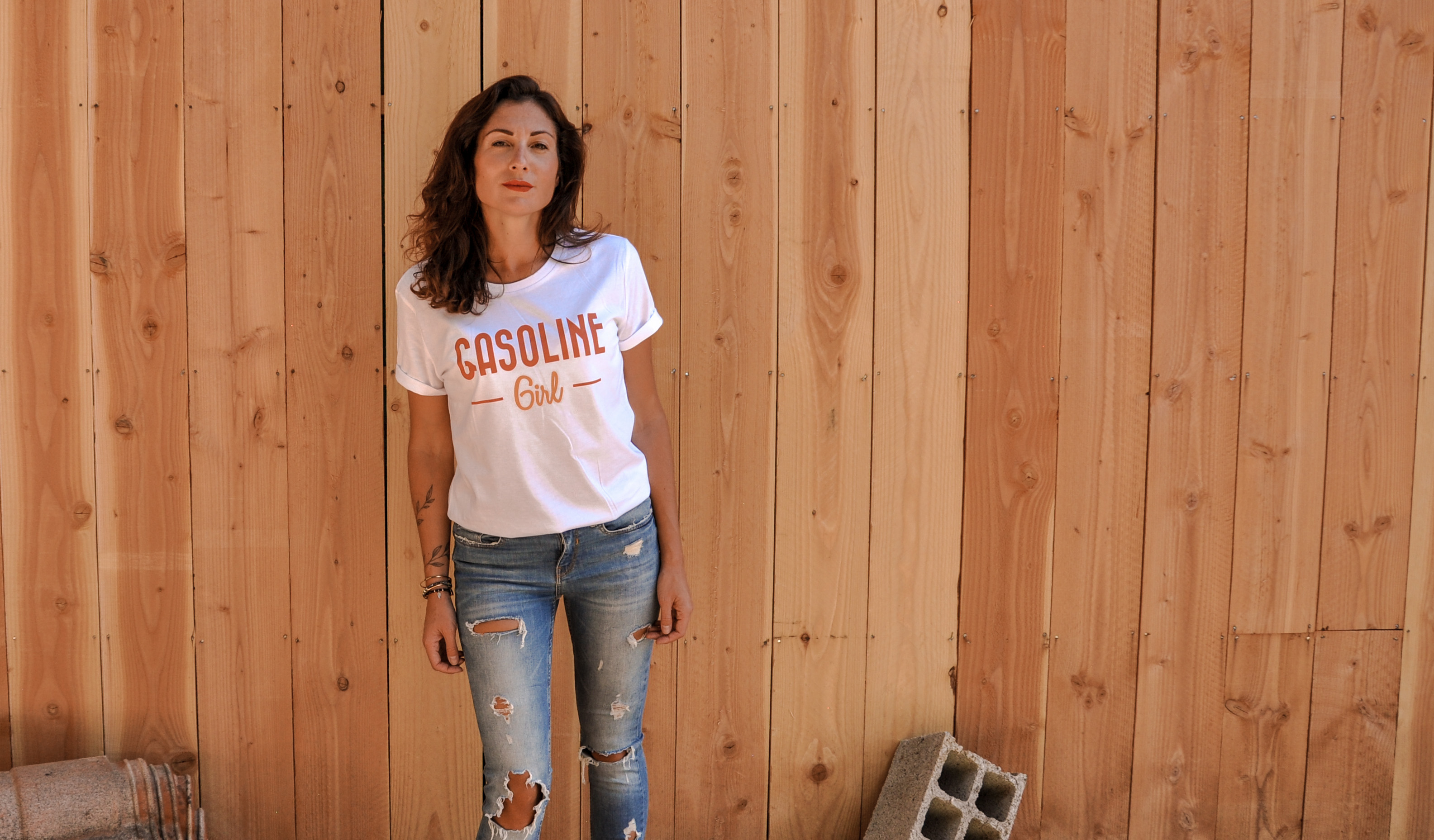 t shirt gasoline girl femme moto