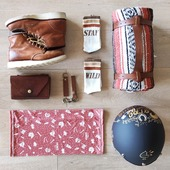 READY TO GO?! Beaucoup d'entre vous sont déjà en train de préparer leurs sacs et leurs indispensables pour les petits roads trips des ponts de mai... Vous nous avez inspirées ! Voici notre petit set up des indispensables Wildust ! - Chaussettes STAY WILD, made in France - Sacoche Moto Cuir: made in France - Porte clefs + Porte Gants Cuir, Made in France - Tour de Cou Moto, made in France - Couverture Mexicaine + Harnais Cuir, Made in Mexico !  Sans oublier les @redwingheritagewomen  et le joli casque customisé par @mama_custom  . .  READY TO GO ?! Many of you are already preparing their backpack for next roadtrips... We've been inspired by you, and prepared a cool set up too ! Hope you'll like it ! . . . #backpack #motorcyclegear #madeinfrance #ridingapparel #womanrider #bikergirl #ridelikeagirl #womenwhoride #grilrider #ridewithstyle #vintagelovers #roadtriplovers #adventurer #staywild #wilderness